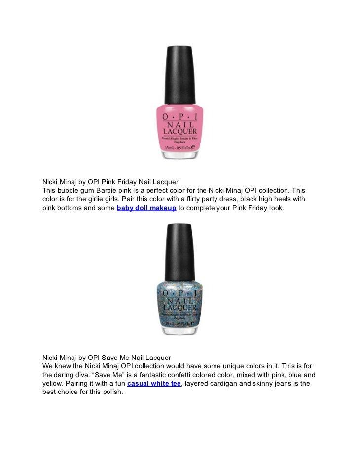 Cosmetic collaboration the nicki minaj opi nail polish collection