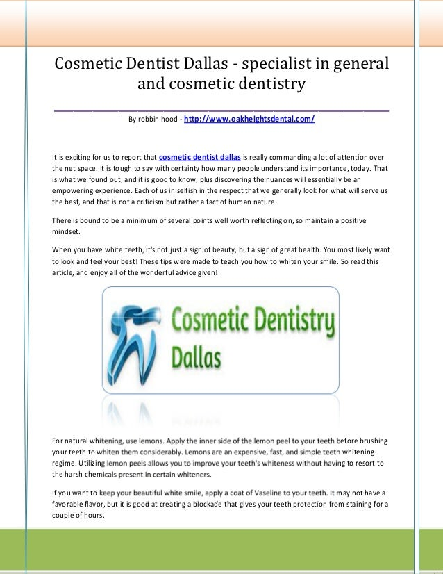 Cosmetic Dentist Dallas - specialist in general             and cosmetic dentistry________________________________________...