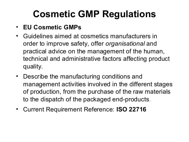implementation of gmp u2019s for cosmetics in a changing global