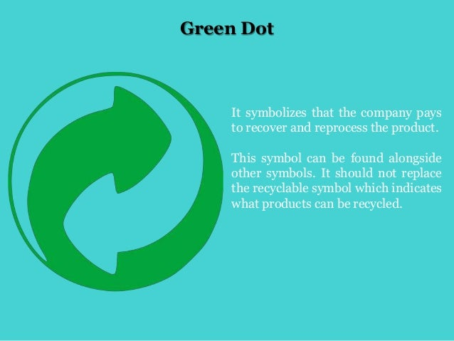 Green Dot It symbolizes that the company pays to recover and reprocess the product. This symbol can be found alongside oth...