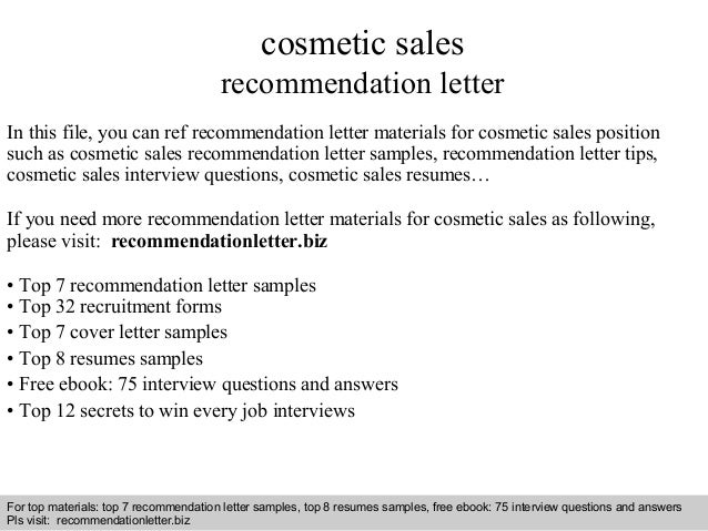 Cosmetic sales recommendation letter
