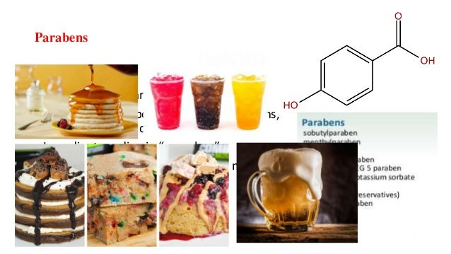 Parabens • Preservatives. • Absorption: skin and GI • FOUND IN: Shampoos, conditioners, lotions, facial and shower cleanse...