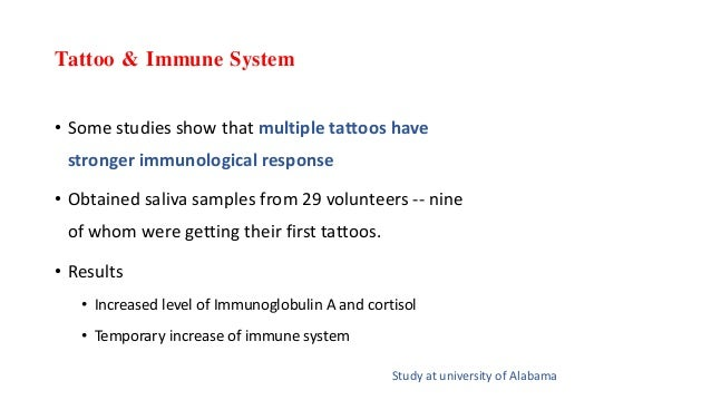 Tattoo & Immune System • Some studies show that multiple tattoos have stronger immunological response • Obtained saliva sa...