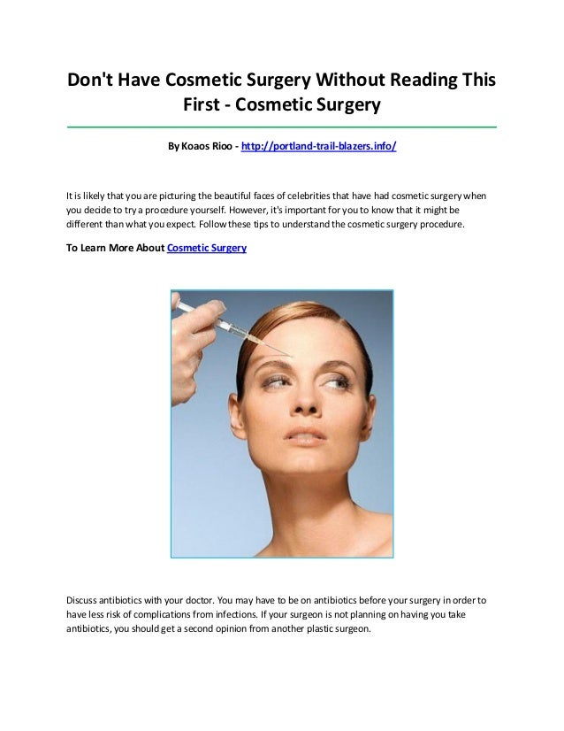 is cosmetic surgery worth the risk