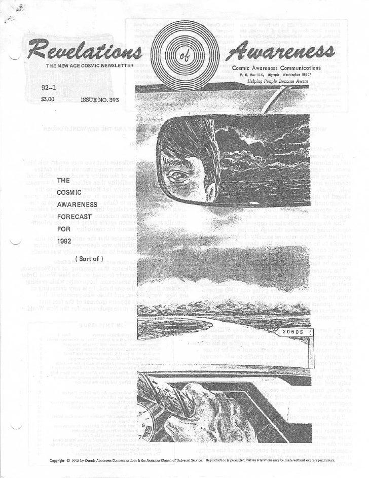 Cosmic Awareness 1992-01: The Cosmic Awareness Forecast for 1992 (Sort of)