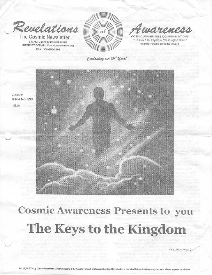 Cosmic Awareness 2000-11: The Spirit That Claimed to be Cosmic Awareness