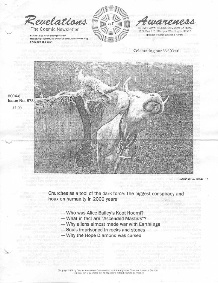 Cosmic Awareness 2004-08: Prozac Makes Some Entities Run Amok (Slaughter in the School Yard