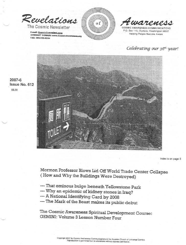 Cosmic Awareness 2007-06: That Ominous Bulge Beneath Yellowstone Park
