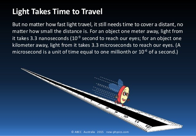 © ABCC Australia 2015 new-physics.com Light Takes Time to Travel But no matter how fast light travel, it still needs time ...