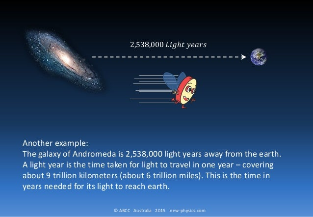 © ABCC Australia 2015 new-physics.com Another example: The galaxy of Andromeda is 2,538,000 light years away from the eart...