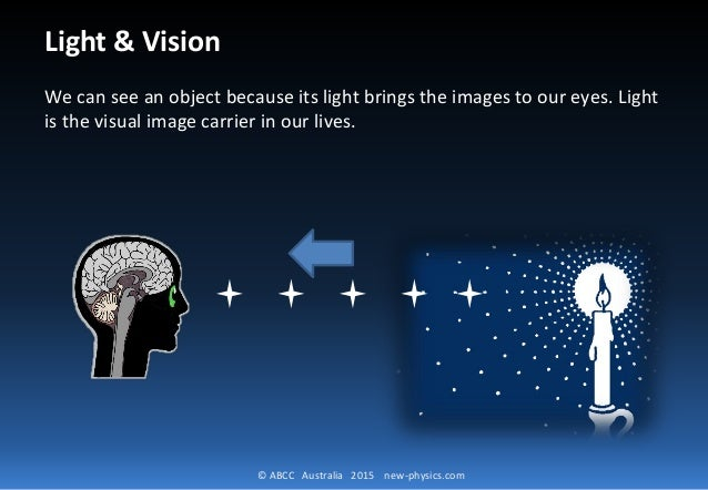 © ABCC Australia 2015 new-physics.com Light & Vision We can see an object because its light brings the images to our eyes....
