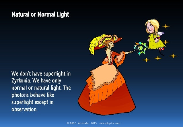© ABCC Australia 2015 new-physics.com Natural or Normal Light We don't have superlight in Zyrkonia. We have only normal or...