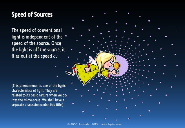 © ABCC Australia 2015 new-physics.com Speed of Sources The speed of conventional light is independent of the speed of the ...