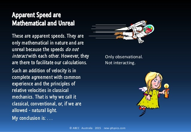 © ABCC Australia 2015 new-physics.com Apparent Speed are Mathematical and Unreal These are apparent speeds. They are only ...