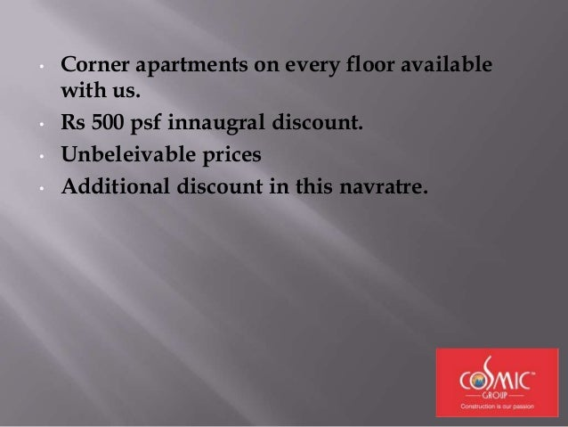 DISCOUNTS FOR BOOKINGS IN NAVRATRE. & INNAUGRAL DISCOUNT.