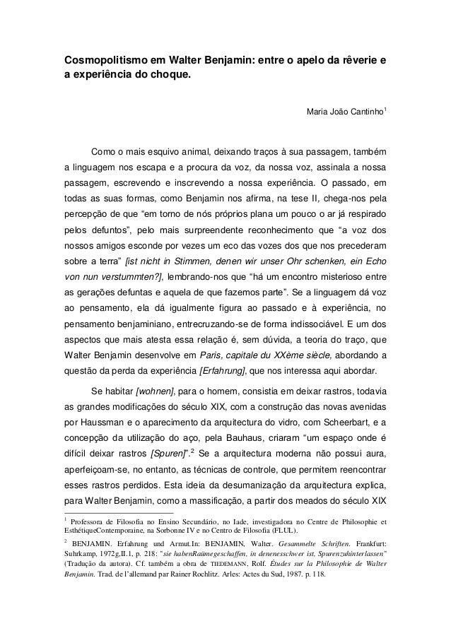 Cosmopolitismo em Walter Benjamin: entre o apelo da rêverie ea experiência do choque.                                     ...