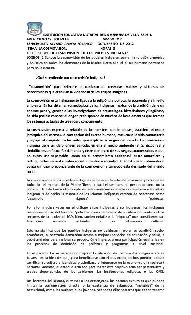INSTITUCION EDUCATIVA DISTRITAL DENIS HERRERA DE VILLA SEDE 1.AREA: CIENCIAS SOCIALES.                       GRADO: 7º2ESP...