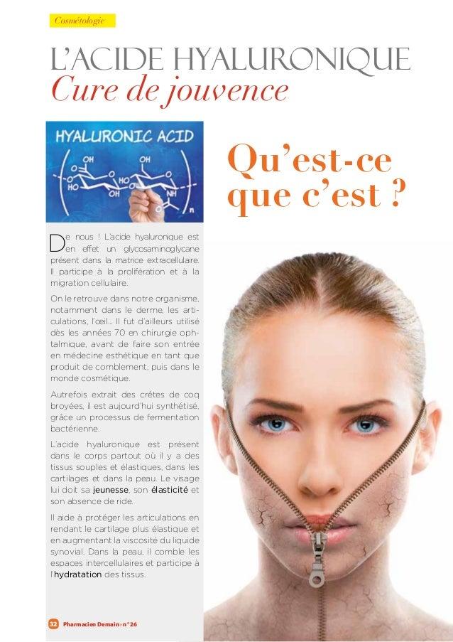 Pharmacien Demain › n° 2632 L'acide hyaluronique Cure de jouvence De nous ! L'acide hyaluronique est en effet un glycosami...