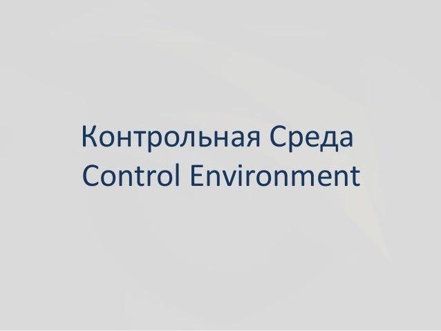 Внутренний аудит и coso Контрольная Среда control environment