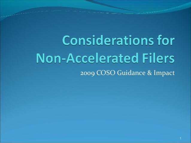 2009 COSO Guidance & Impact 1