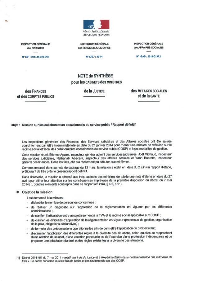 Rapport d'information sur les collaborateurs des ministères non déclarés
