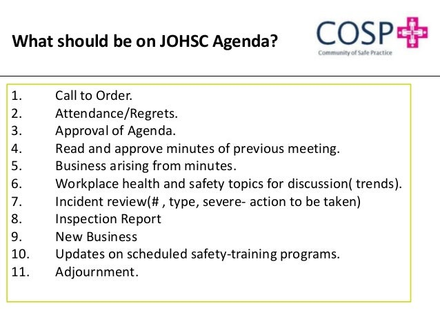 Joint occupational health and safety committee effectiveness for Health and safety committee meeting agenda template