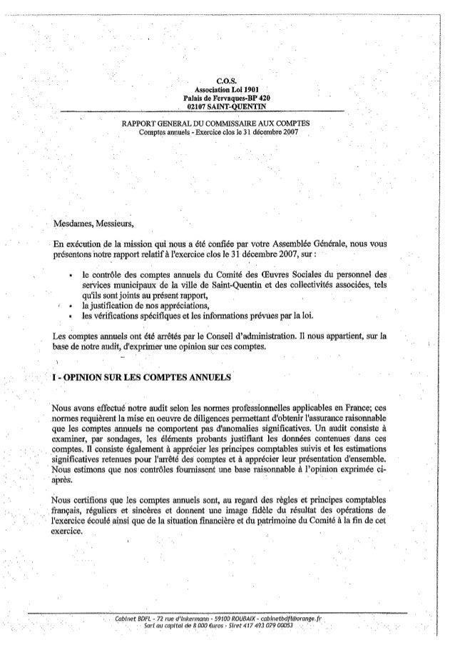 Rapport commisaire aux comptes COS SAINT QUENTIN  comptes 2007