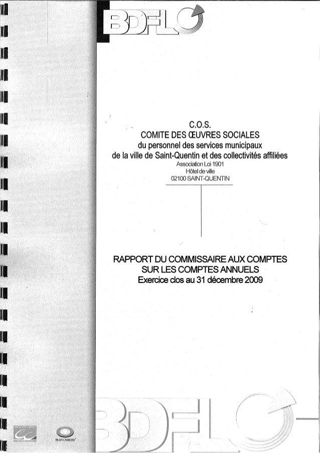 Rapport commissaire aux comptes COS SAINT QUENTIN comptes 2009