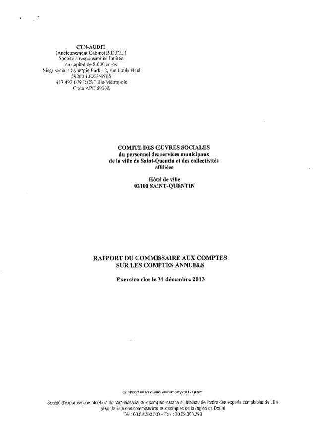 Rapport Commissaire aux comptes COS SAINT QUENTIN  comptes 2013.compressed