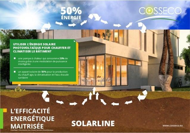 UTILISER L'ÉNERGIE SOLAIRE PHOTOVOLTAÏQUE POUR CHAUFFER ET CLIMATISER LE BÂTIMENT une pompe à chaleur qui consomme 20% de ...