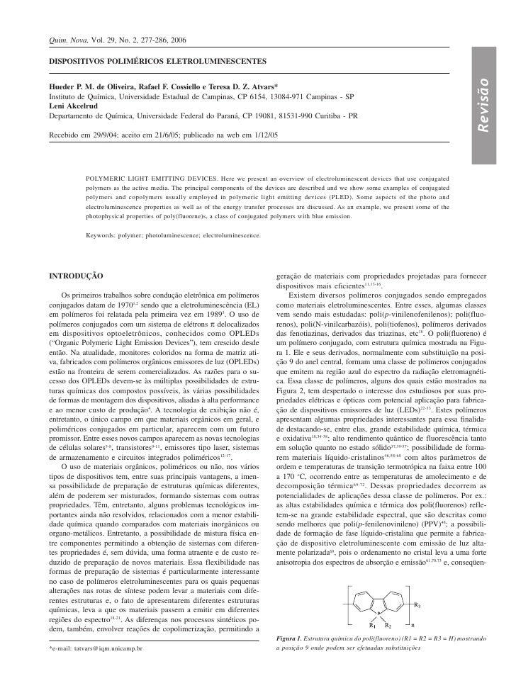 Quim. Nova, Vol. 29, No. 2, 277-286, 2006  DISPOSITIVOS POLIMÉRICOS ELETROLUMINESCENTES                                   ...
