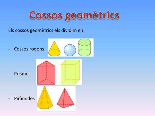 Els cossos geomètrics els dividim en: - Cossos rodons - Prismes - Piràmides