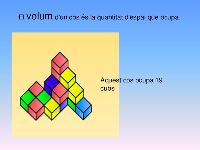 El volum d'un cos és la quantitat d'espai que ocupa. Aquest cos ocupa 19 cubs