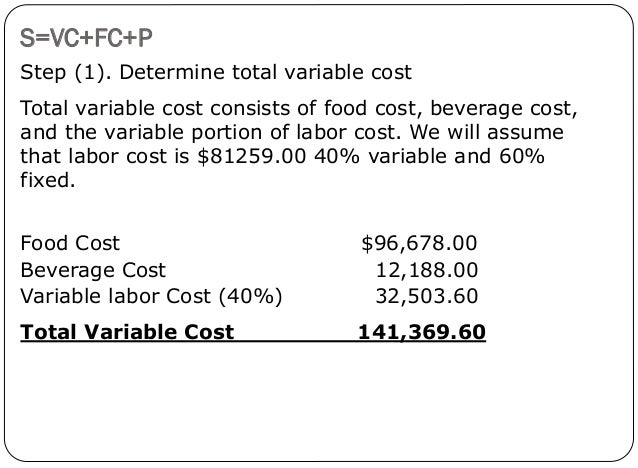 calculating ficed cost variable costs Do you know the full equation to figure out your break-even point  sales  commissions, for example, add a variable expense to fixed labour.