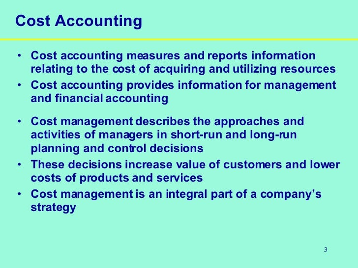 week 5 discussion cost accounting Managerial accounting is integral to making operational and  week, or year at the  responsibility accounting assumes that every cost incurred by a company is.