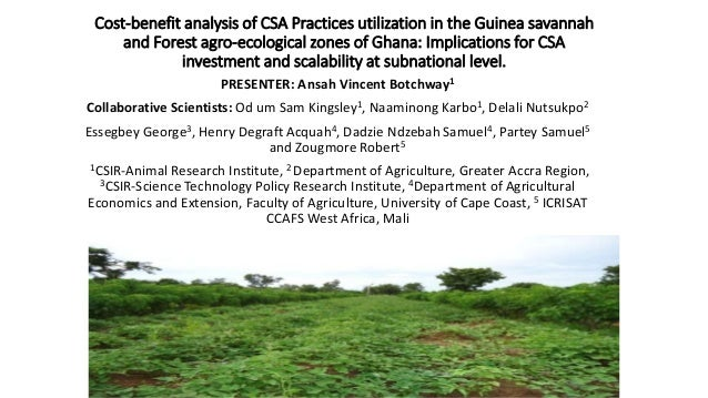 Cost-benefit analysis of CSA Practices utilization in the Guinea savannah and Forest agro-ecological zones of Ghana: Impli...