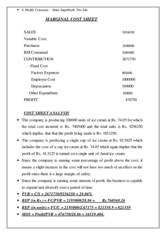 cost sheet of amul 49580539 amul-cost-analysis 1 cost analysis of amul ice cream-  fruit and nut cost sheet for amul ice-creams.