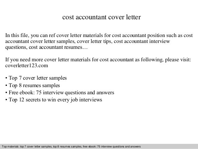 Cost Accountant Cover Letter