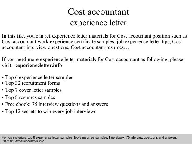 Cost accountant  experience letter  In this file, you can ref experience letter materials for Cost accountant position suc...