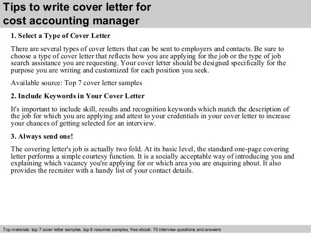 Superb ... 3. Tips To Write Cover Letter For Cost Accounting Manager ...