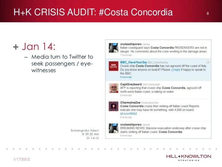 crisis management analysis costa concordia #costa concordiadigital crisis analysisconducted by: brendan hodgson  jan  14 – 9:00 jan16 analysis of relevant publicly accessible sites,.