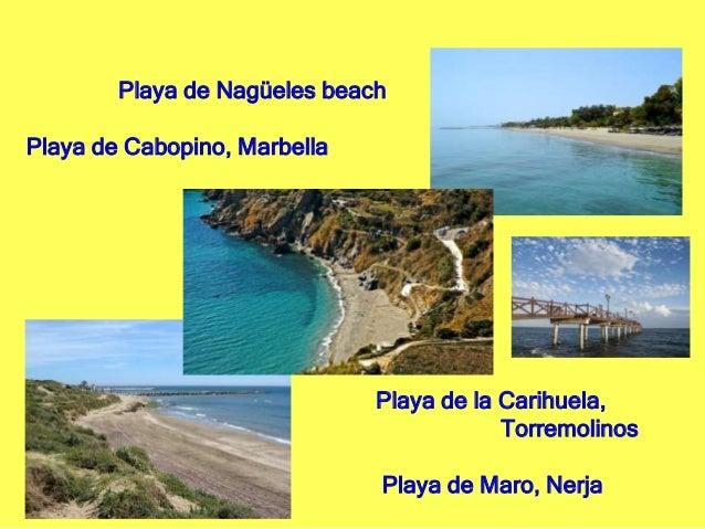 Playa de Nagüeles beach Playa de Cabopino, Marbella Playa de la Carihuela, Torremolinos Playa de Maro, Nerja