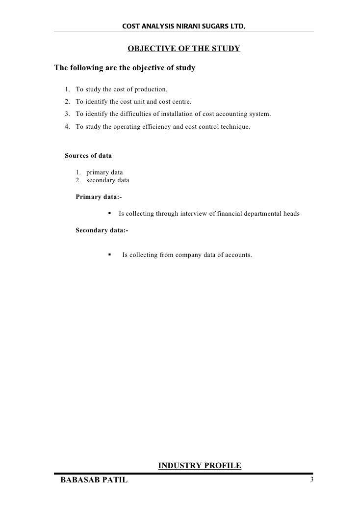 Cost analysis @ nirani sugars ltd project report Slide 3