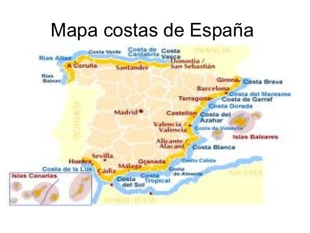 Costas De España Mapa.Costas Y Rios De Espana