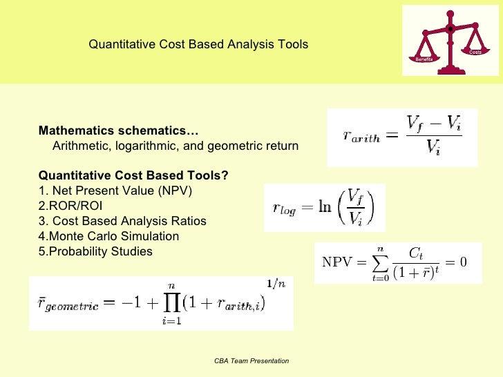 Quantitative Cost Based Analysis Tools Mathematics schematics…  Arithmetic, logarithmic, and geometric return  Quantitativ...