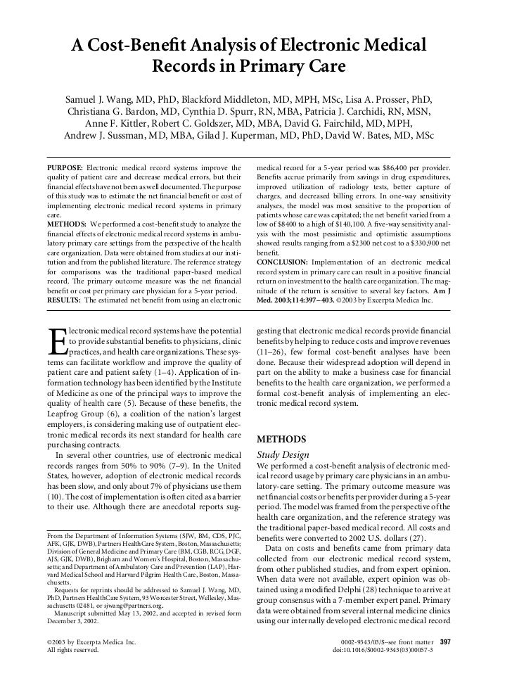 A Cost-Benefit Analysis of Electronic Medical                 Records in Primary Care     Samuel J. Wang, MD, PhD, Blackfor...