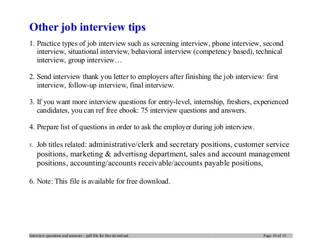 ... 10. Other Job Interview Tips ...  First Interview Tips