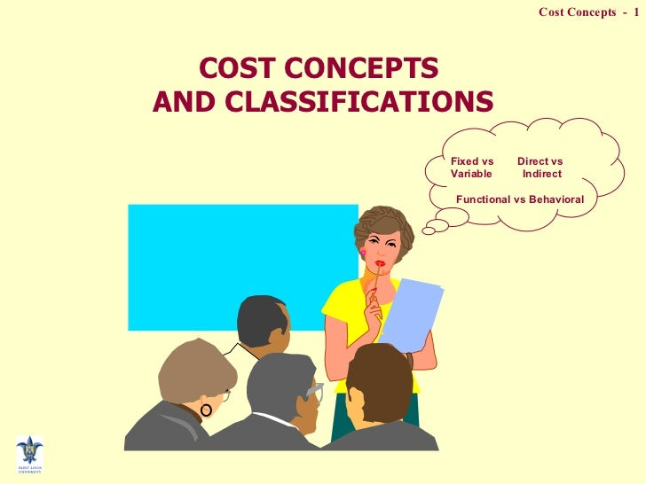 COST CONCEPTS  AND CLASSIFICATIONS Fixed vs  Direct vs Variable  Indirect Functional vs Behavioral