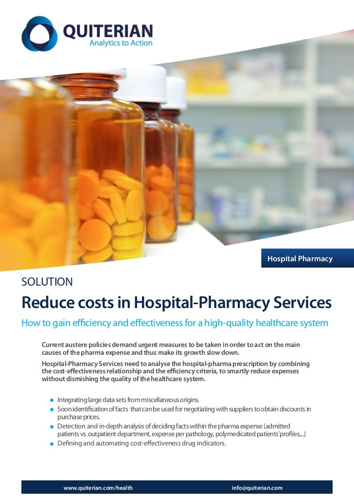 Hospital PharmacySOLUTIONReduce costs in Hospital-Pharmacy ServicesHow to gain efficiency and effectiveness for a high-qua...