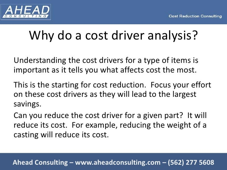 cost driver A note on optimal cost driver selection in abc carsten homburg in implementing an activity-based costing (abc) system the selection of cost drivers is a major issue since accuracy must be traded off against the complexity of the abc- system on the one hand, a high accuracy in allocating overhead costs often requires.
